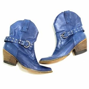 Very Volatile | Studded Blue Leather Western Boots